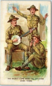 1918 WWI Artist-Signed ARCHIE GUNN Postcard Soldiers Band - Banjo & Harmonica