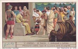 Liebig Vintage Trade Card S1239 Tne Aeneid Part 2  No 1 Ambassade a Latinus