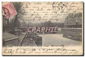 Old Postcard Paris Seine through Paris Le Petit upstream arm of the New Bridg...