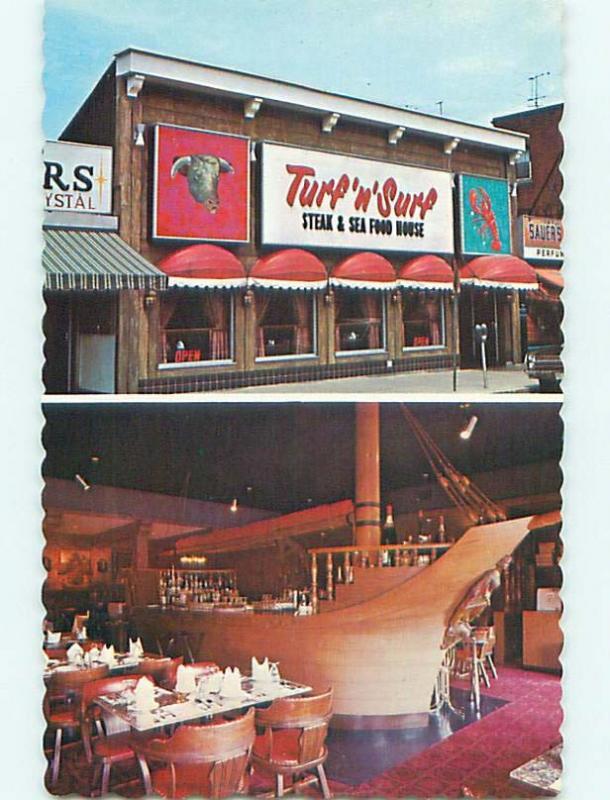 Unused Pre-1980 TURF N' SURF RESTAURANT IN NIAGARA FALLS Ontario CANADA v7594-22
