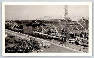 Port Said Egypt~Battleships in Harbour~Steamers~Fishing Boats Fleet~1956 RPPC