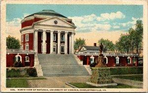 Vtg 1920s University of Virginia Rotunda North View Charlottesville VA Postcard