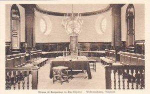 Virginia Williamsburg House Of Burgesses In the Capitol Albertype