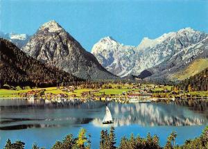 Pertisau am Achensee Tirol gegen Sonnjoch Lake Boat Mountain Panorama
