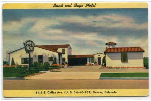 Sand and Sage Motel Denver Colorado 1952 postcard