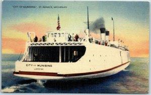 1940s St. Ignace, Michigan Postcard CITY OF MUNISING Car Ferry Linen Unused