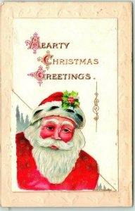 Vintage CHRISTMAS Postcard SANTA CLAUS (Opens for additional Greeting) c1910s