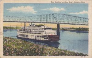 Boat landing on Ohio River, Bridge, MARIETTA, Ohio, PU-1956