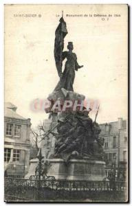 Postcard Old Saint Dizier The Monument of the Defense Army 1544