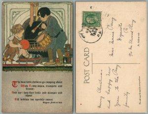 ART NOUVEAU LITTLE CHILDREN TEDDY BEAR TRUMPET DRUM TOYS 1909 ANTIQUE POSTCARD