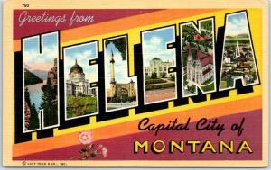 HELENA Montana Large Letter Postcard Capital City State Flower Linen c1940s