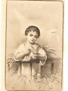 Infant Jesus with a dove Nice vintage Spanish religious postcard