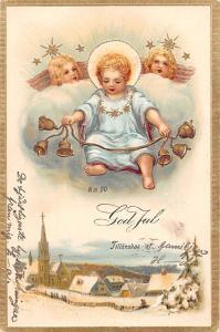 Embossed God Jul, Tilloenskas, Merry Christmas, bells, angel, cherubs, stars