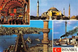 Turkey Istanbul Market Place Restaurant Marche Bridge Ships Boats