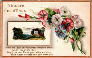 Greetings With Sincere Fond Wishes Postcard Old Vintage Card View Standard Post