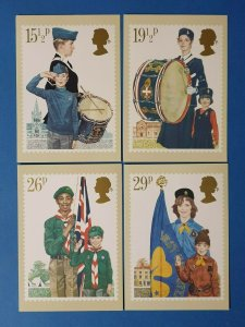 Set of 4 PHQ Stamp Postcards Set 58 FIRST DAY ISSUE Youth Organisations 1982 CD9