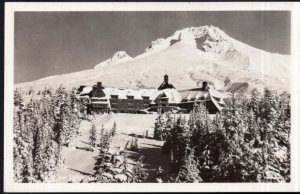 Oregon Timberline Lodge with Mount Hood in background - RPPC by EKC1939-1950