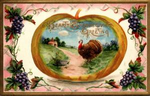 Thanksgiving With Turkey and Landscape Scene