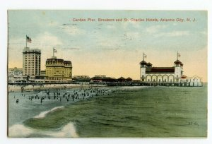Postcard Garden Pier Breakers St. Charles Hotels Atlantic City NJ Standard Card