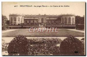 Old Postcard Deauville Casino flowered beach and gardens