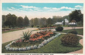 OMAHA, Nebraska, PU-1930; Flower Beds And Conservatory In Hanscom Park
