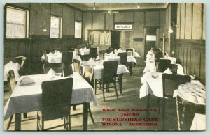 Winona Minnesota~the Sunshine Cafe Interior~Menu on Table~Coat Racks~1913 PC