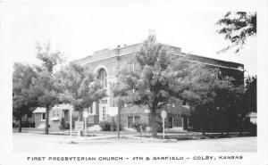 Colby Kansas~First Presbyterian Church~4th & Garfield~1950s B&W Postcard