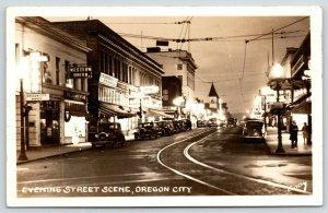 Oregon City OR~Main Street Night Lights~Western Union~Woolworth 5&10~1930s RPPC