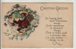 Christmas greetings 1923 Santa Claus United States postcard