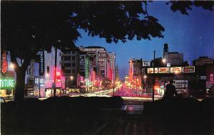 Newark NJ Market Street at Night Store fronts Neon Signage Billboards Postcard