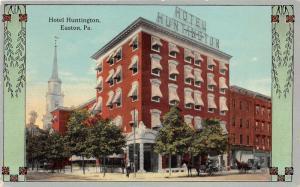 Easton Pennsylvania~Hotel Huntington~Man Leaning Against Pole~Horse Buggies~1910