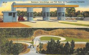 Interchange & Toll Gate PENNSYLVANIA TURNPIKE c1940s Vintage Linen Postcard