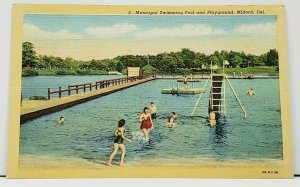 Milford Delaware Municipal Swimming Pool and Playground Linen Postcard I9