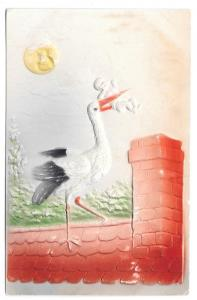 Stork on Roof Delivering Baby in Chimney Airbrushed Embossed