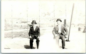 Vintage 1910s RPPC Real Photo Postcard 2 Men on Playground Swings, Poss. Montana