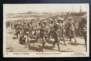 Mint Australia Postcard RPPC WWI Australian Troops In France Machine Gunners