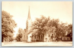 Horicon WI St Stephen's German Lutheran Church~Steeple RPPC Sepia 1940s Postcard