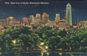 USA Minnesota Minneapolis Night View of Skyline 04.29
