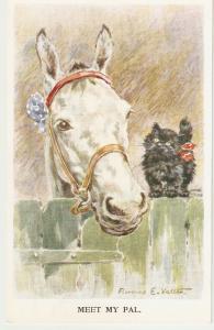 F.E.Valter. Horses. Meet my pal Lovely Valentine Postcard