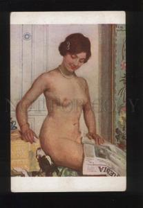 052086 Nude Woman & JACK RUSSELL TERRIER by GUILLAIME vintage
