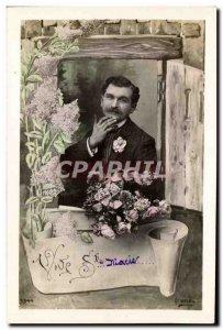 Old Postcard Fancy Man Vive Ste Marie