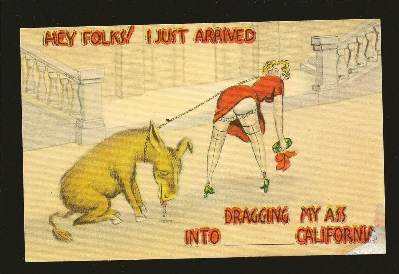 Dragging My Ass Into California Western Publishing Los Angeles Linen Postcard