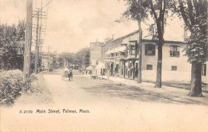 Palmer Massachusetts Main Street Scene Store Fronts Antique Postcard K16166