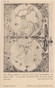 World Globe Medieval Map From 1542 Henry VIII Australia Old Postcard