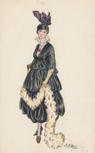 ART DECO ; EDY (Paris) ; Female Fashion portrait #2, 1916