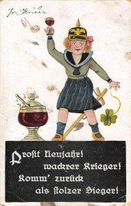 US3536 Profit Neujahr Mackrer Krieger, Woman Holding Wine Glass Postcard