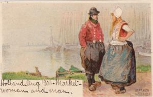 Man & Woman Wearing Typical Costumes, Marken (North Holland), Netherlands, 1901