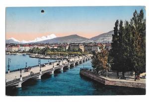 Switzerland Geneva Geneve  Pont du Mont Blanc Vtg Julien Freres Postcard
