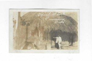 Vtg 1918-1930 AZO RPPC Typical Shack, Caimanera, Cuba Photo Postcard