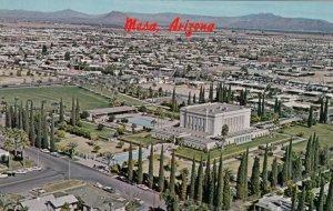 MESA , Arizona, 1950-60s ;  Aerial view of Mormon Temple